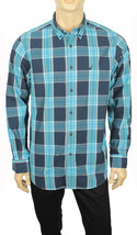 NEW NAUTICA LONG SLEEVE BLUE PLAID COTTON POPLIN BUTTON FRONT SHIRT L - $26.50