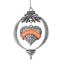 Inspired Silver Orange Matron Pave Heart Holiday Decoration Christmas Tree Ornam - $14.69