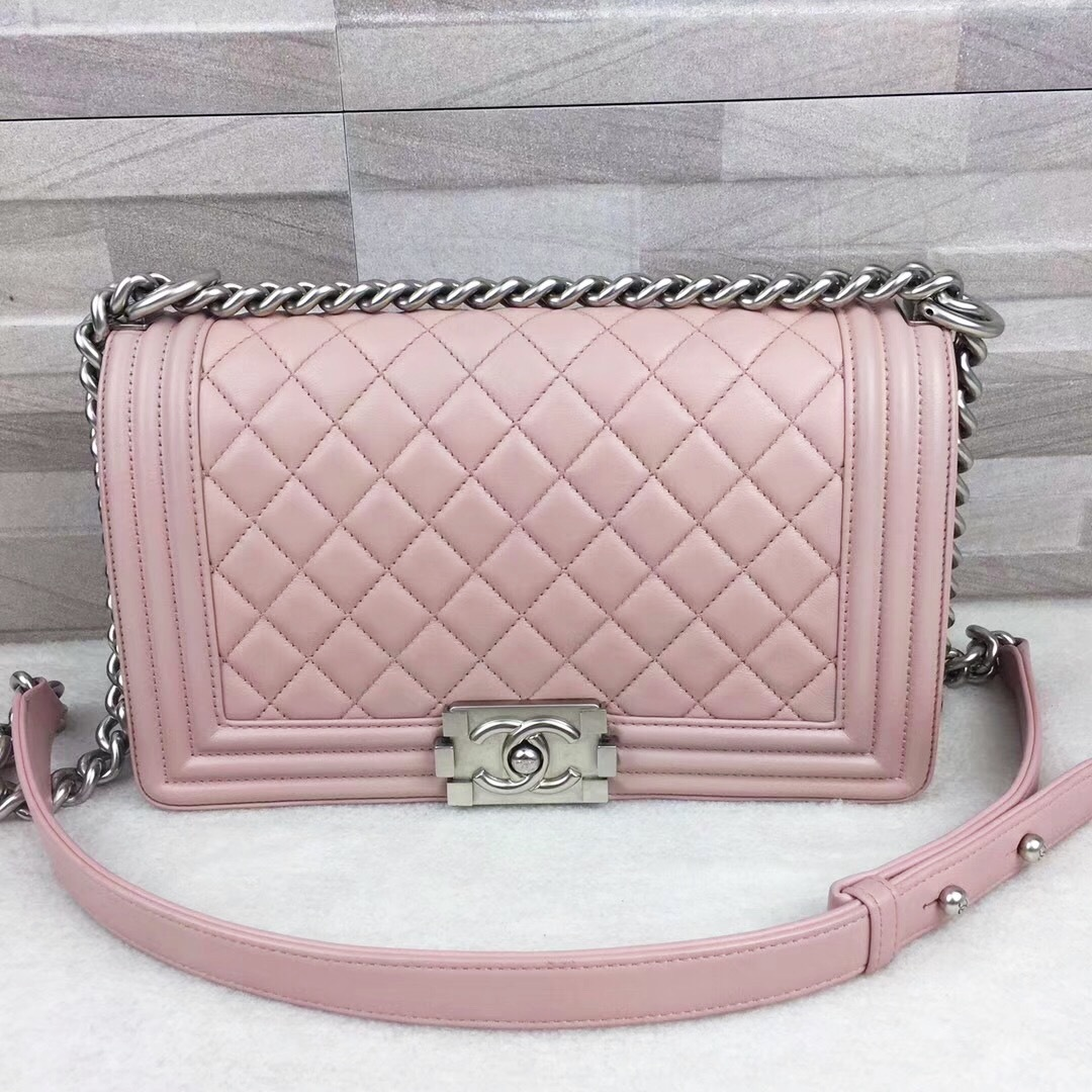 Authentic Chanel Pink Quilted Calfskin Medium Boy Flap Bag