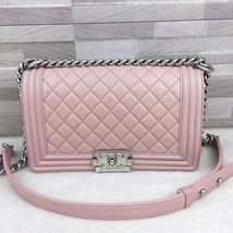 AUTHENTIC CHANEL PINK QUILTED CALFSKIN MEDIUM BOY FLAP BAG MATTE SILVERT... - $3,999.99