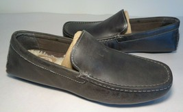 L.B. Evans Size 8 Wide ALTON Charcoal Leather Loafers Slippers New Men's... - $117.81