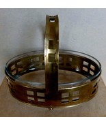 Modernist Brass Basket with Glass Liner Mid-century Container C. 1940's -50's - $165.00