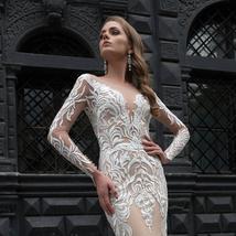 New Style Elegant Satin Lined Long Sleeve Lace Illusion Mermaid- Trumpet Bridal  image 3