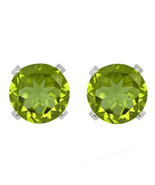 4mm Round August Peridot Birthstone Sterling Silver Solitaire Stud Earrings - $131.37