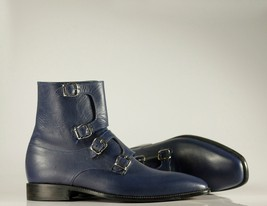 Handmade Men's Blue Leather High Ankle Monkstrap Boots image 5