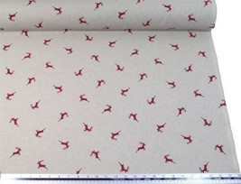 Stag Red Beige Linen Look High Quality Fabric Material 3 Sizes - $3.07+