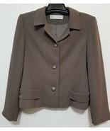 Valerie Stevens Womens Dress Blazer Size 8 Tan Button Front Jacket Polye... - $17.37