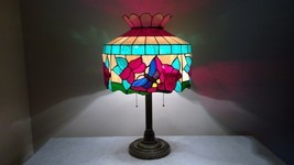 Vintage Floating Butterflies Stained Glass Shade on Ornate Brown Base Ta... - £145.04 GBP