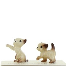 Hagen Renaker Miniature Cat Siamese Tiny Kittens Boxing and Walking Set of 2
