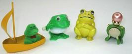 Vtg Mini Frog Toad Figure Lot Sailboat Crown Jewel Wind Up Jumper Finger... - £12.01 GBP