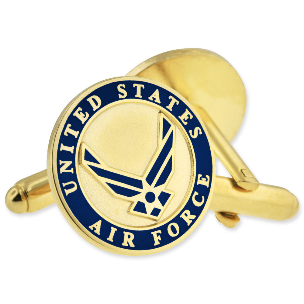 "Primary image for Military USAF Air Force Cufflink Set Gold Size 3/4"" Round  Our U.S. Air"