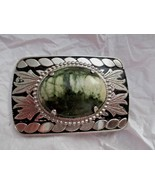"""Moss Agate Silver Tone 3""""x 2"""" Belt Buckle Fits up to 1.5"""" Belt Strap  New - $19.79"""