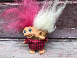 "Vintage 1965 Uneeda Two Headed Troll Doll Red White Hair 3"" - $79.15"