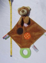 Brown & tan Bear Lil' Teether Toy  security blanket dots ribbons Aurora ... - $4.94