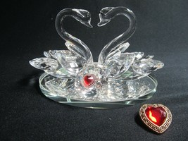 2 Sets Vantage Lovely Big Bright Top  Quality K9 Crystal Swans - $47.52