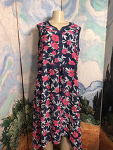 Liz Lange XL Navy Blue/Pink Floral V-Neck Step Hem Below Knee Sleeveless... - $39.59