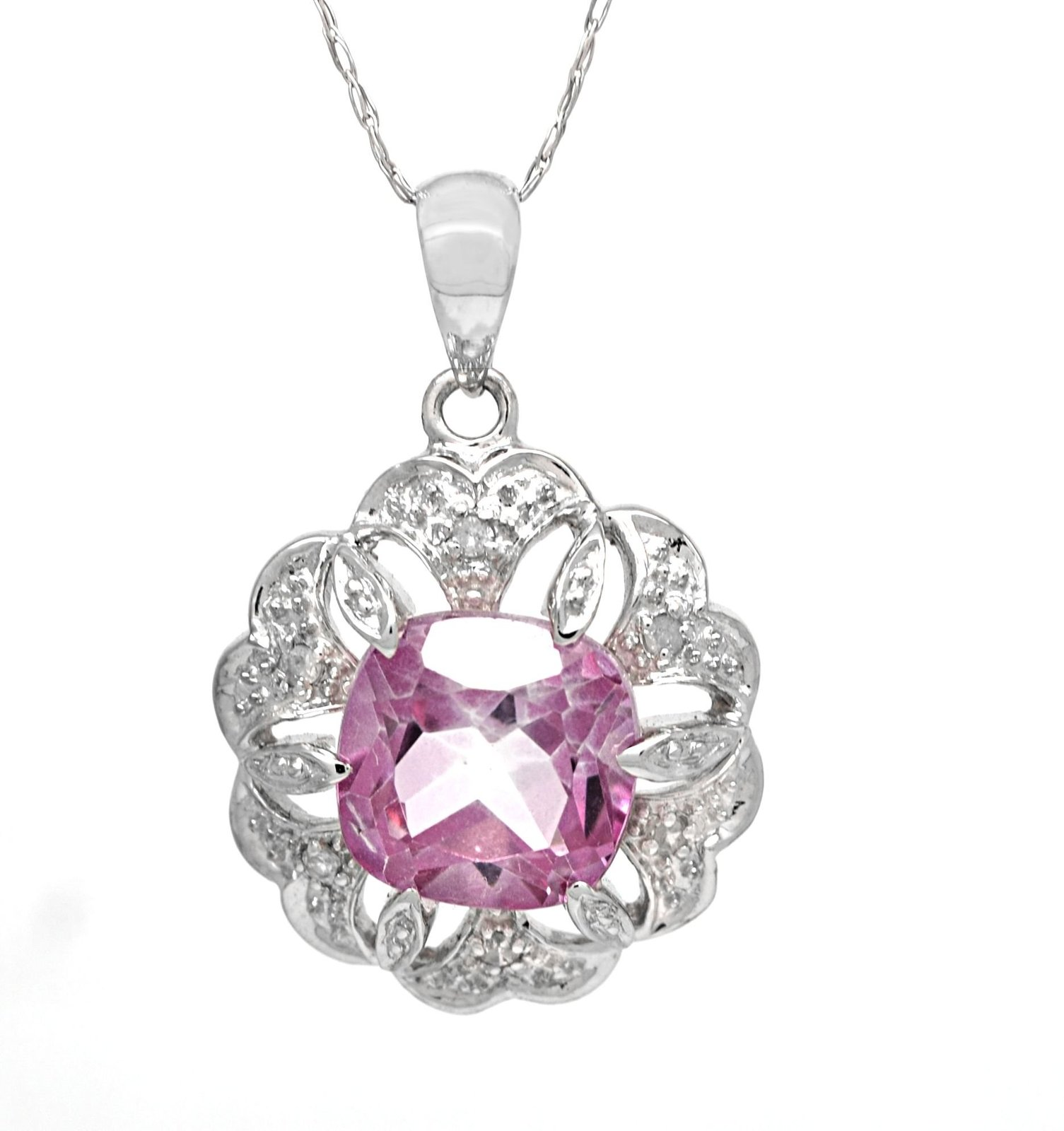 14K Genuine Pink Topaz White Gold Pendant with 10 K Cable Chain