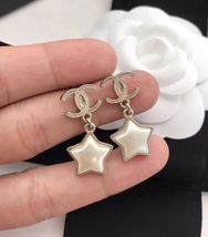 Authentic Chanel RARE CC Logo Star Dangle Drop Gold Earrings image 3