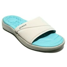 Crocs Reviva Comfort Slides Womens Size 4 Sandal Pearl White Ice Blue Flip Flop - $30.81