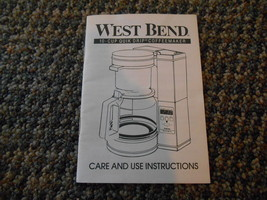 Old Vintage 1991 West Bend 10 Cup Quik Drip Coffeemaker Care Use Instruc... - $9.99