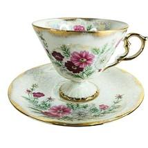 NORLEANS Lusterware Pedestal Tea Cup & Saucer Set Cosmos October Birthda... - $21.75
