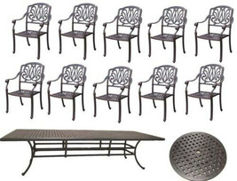 Elisabeth cast aluminum 12pc outdoor patio dining set with rectangular table image 1