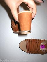 New $235 Womens 8.5 Donald J Pliner Wedge Platform Sandals Brown Shoes Suede image 2