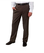 Kirkland Signature™ Men's Wool Flat Front Dress Pant, Brown, 44x32 - £17.44 GBP