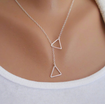 Delicate Hollow Triangles Necklace >> Combin Shipping << (7303) - $3.91