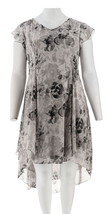 H Halston Rose Print Cap Slv Hi-Low Dress Grey 18W NEW A303198 - $35.62