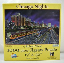 "Chicago Nights Skyline and Trains SunsOut Puzzle - 1000 Pieces 19"" x 30"" New - $18.95"