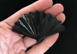 Black Plastic Vintage LADIES FAN Brooch Pin - 3 inches - FREE SHIPPING - $20.00