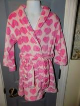 Cuddl Duds Pink Heart Plush Fleece Bathrobe Robe Size 4/5(XS) Girl's NEW - $35.60
