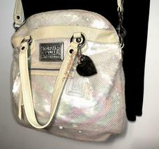 Coach Poppy ~ Pearl Opal Sequins Large Highlight Bag Tote ~ Patent Leather Trim image 8