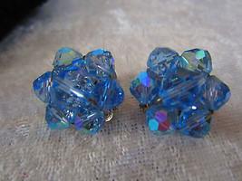 Vintage blue AB crystal earrings petite So Downton abbey clip on filigre... - $18.00