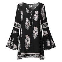ZANZEA Boho Summer Women Deep V Keyhole Loose Long Bell Sleeve Vintage F... - €29,22 EUR