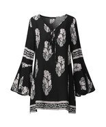 ZANZEA Boho Summer Women Deep V Keyhole Loose Long Bell Sleeve Vintage F... - $32.73