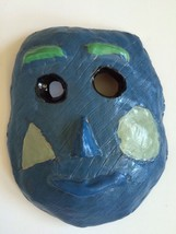 Clay Mask Hand Painted Face OOAK Studio Art Signed M Laycock School Project - $39.59