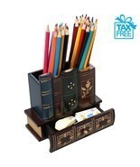 Wooden Pencil Holder with Drawer Book Shelf Design Desktop Decorative Or... - €42,51 EUR