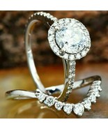 2.10Ct Round Diamond Bridal Halo Curved Engagement Ring Set 925 Sterling... - $85.05