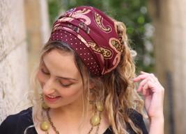 Paisley Colourful Bordeaux Wrap Headscarf Headband Tichel ,Snood, Head Scarf Hat - $52.37