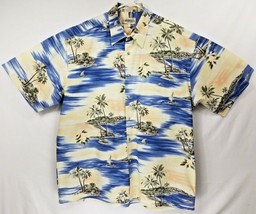 NEW Campia Moda Mens Hawaiian Blue White Tropical Sail Boat Camp Shirt S... - $18.38