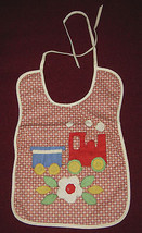 BABY BIB 2 BIBS HAND CRAFTED TRAIN BOATS FLORAL LINEN COTTON QUILTED APP... - $18.99