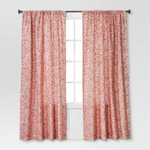 """Threshold Coral Paisley Floral 2 Window Panels (a pair) 84""""L - New - $23.75"""