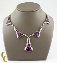 Larry M Chavez Sterling Silver Purple Shell Navajo Necklace - $415.78