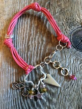 Leather Charm Bracelet/02 Hot Pink - Heart Charm, Bicycle Charm, Star Ch... - $22.95