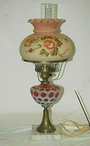 Fenton Cranberry Opalescent Coin Dot Marble Table Lamp w Burmese Ruffled... - $296.99