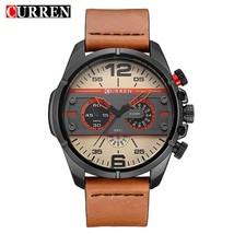 CURREN Men Watch   Army Military Watch Leather Sport   Men Waterproof Wristwatch - $38.77