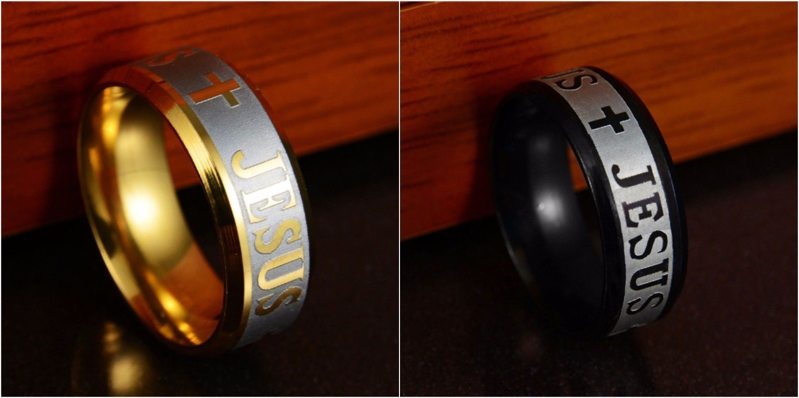 Jesus Christian Cross Prayer Band Ring Stainless Steel Men's Fashion Jewelry