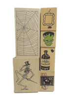 Halloween Stamps - NEW - Set of 6 Different Stamps Mounted on Wood